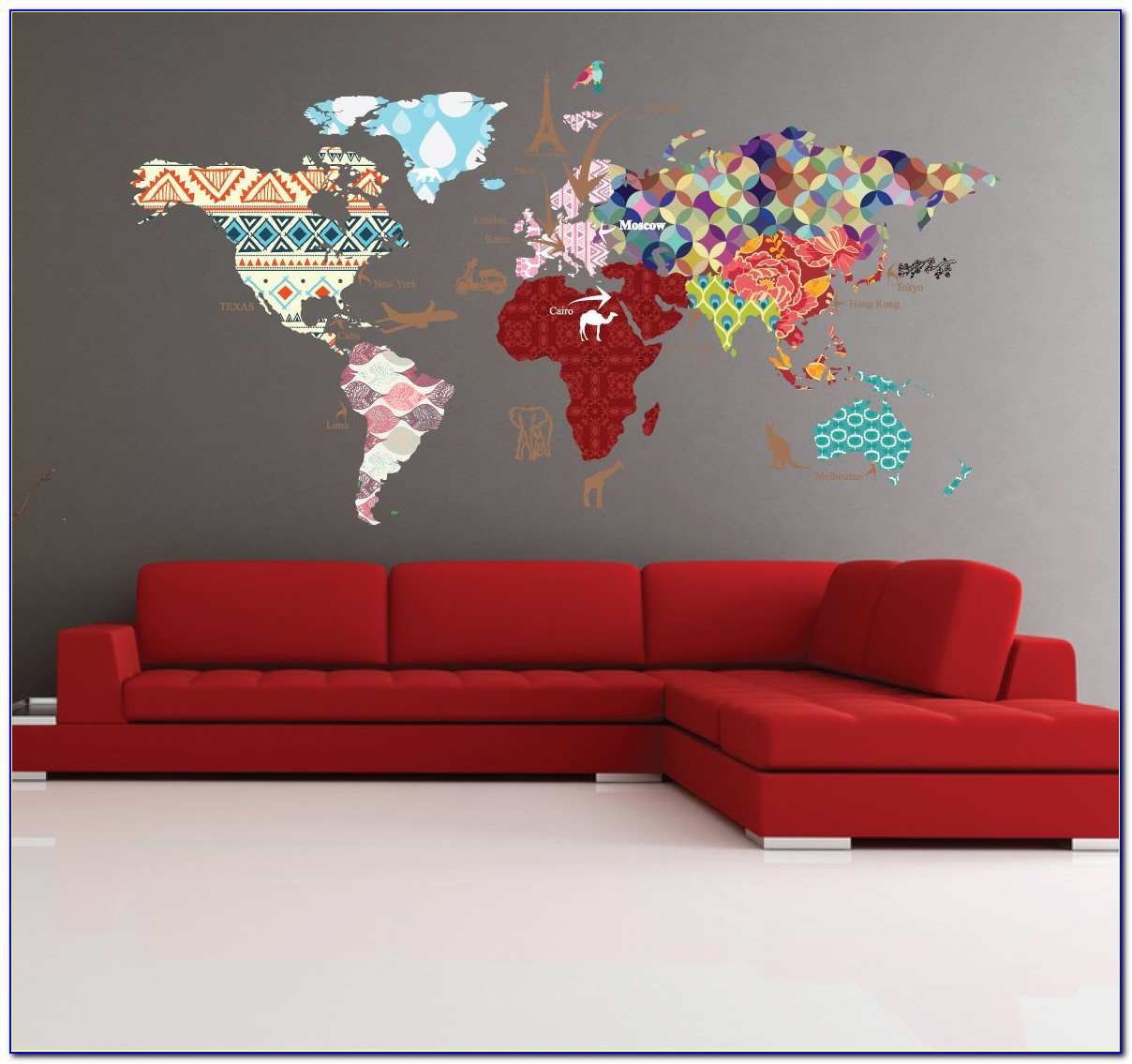 Vintage World Map Murals