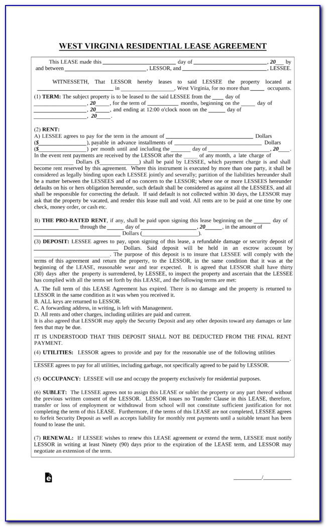 Virginia Room Rental Agreement Form
