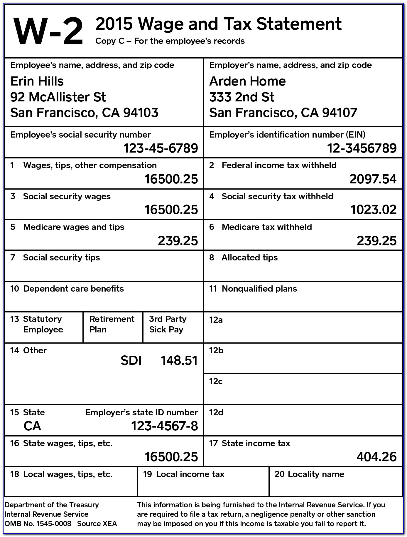 W2 Tax Form For Employees