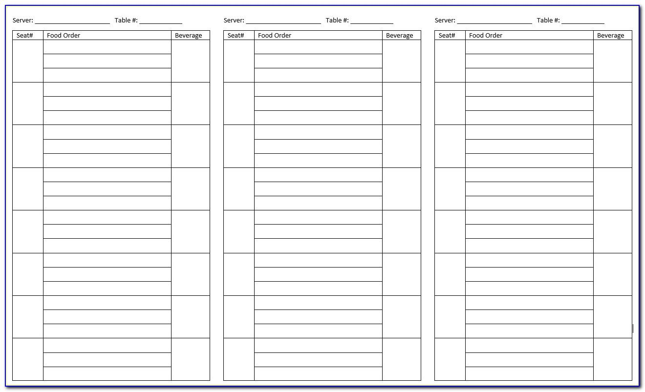Waitress Order Pad Template