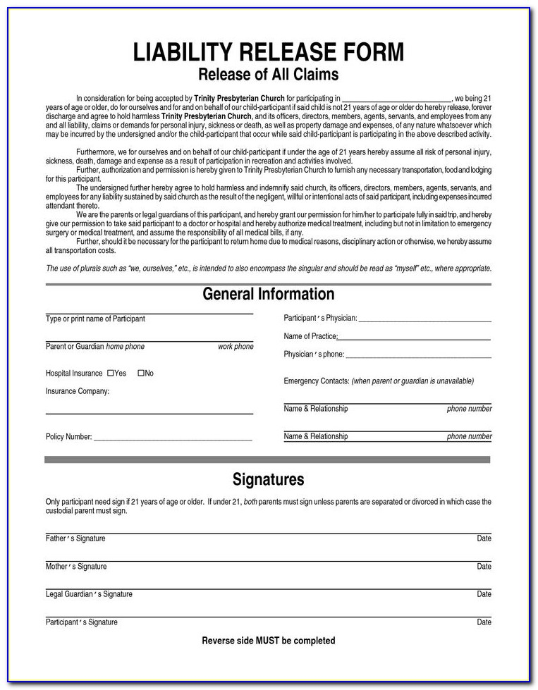 Waiver And Release Form Personal Training