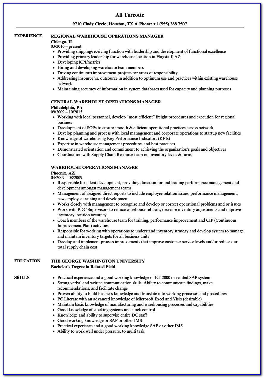 Warehouse Operations Manager Resume Sample