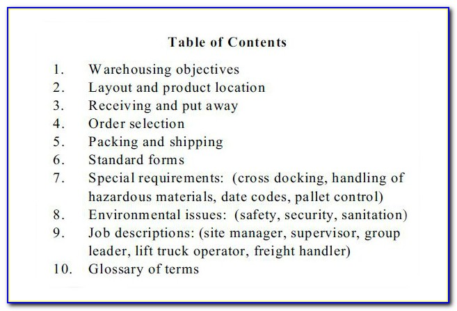 Warehouse Operations Manual Template