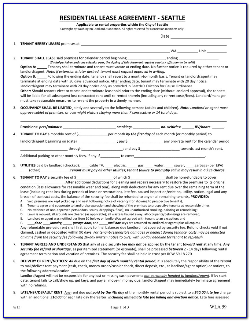 Washington State Month To Month Rental Agreement Form