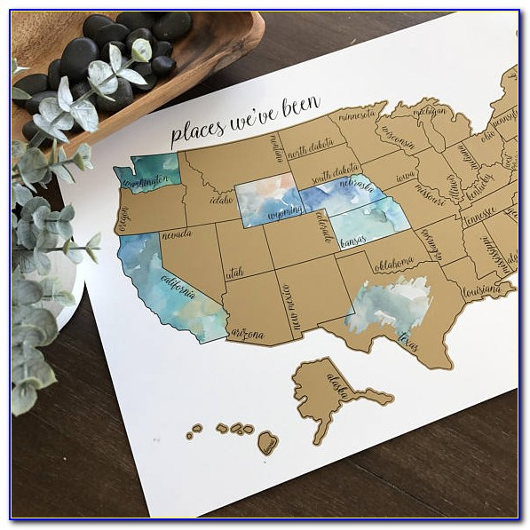 Watercolor Scratch Off Map Usa