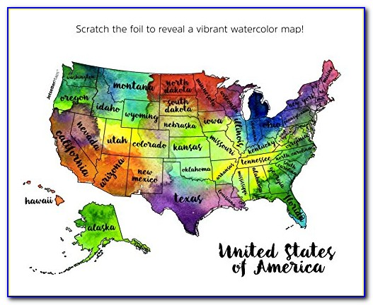 Watercolor Scratch Off Map