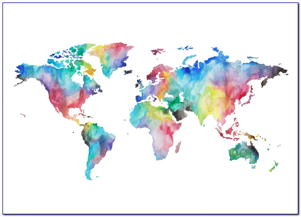 Watercolor World Map Vector