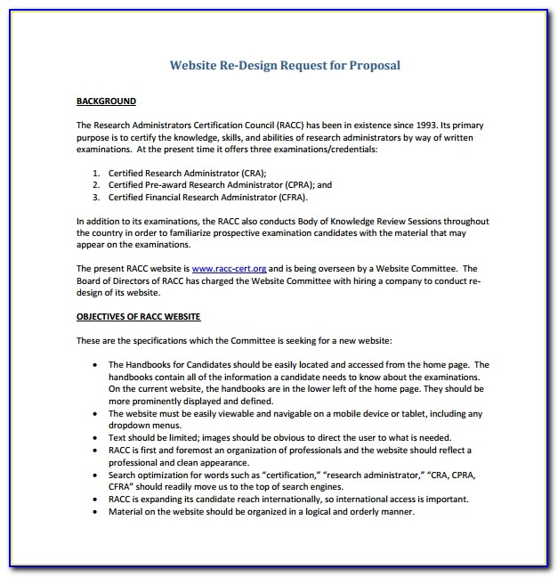 Website Redesign Request For Proposal Template