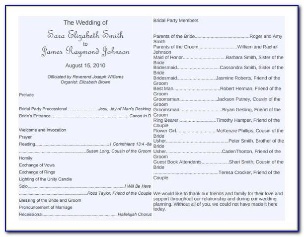 Wedding Bulletin Templates Word