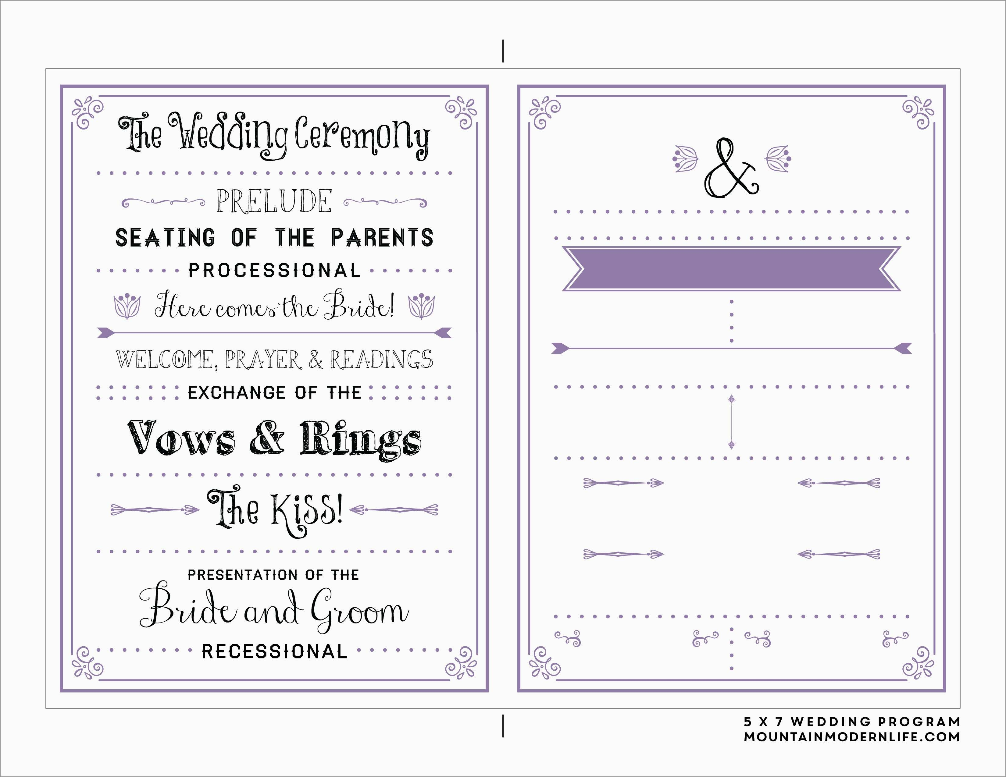 Free Printable Program Templates For Church Best Wedding Ceremony Free Printable Wedding Program Templates Word