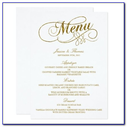 Wedding Dinner Menu Card Template