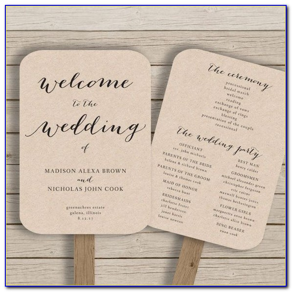 Wedding Fan Programs Templates
