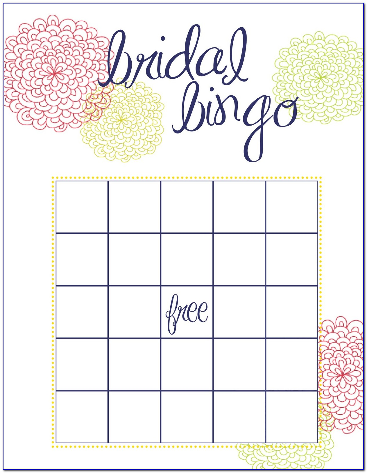 Wedding Guest Bingo Template
