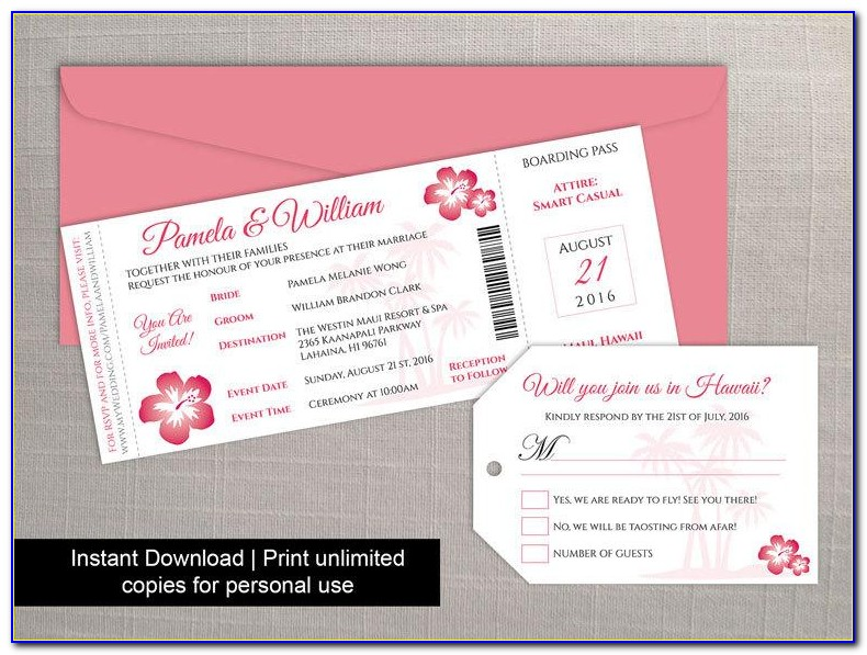 Wedding Invitation Boarding Pass Template