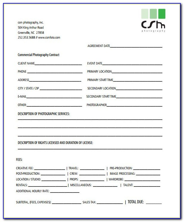 Wedding Photographer Contracts Templates