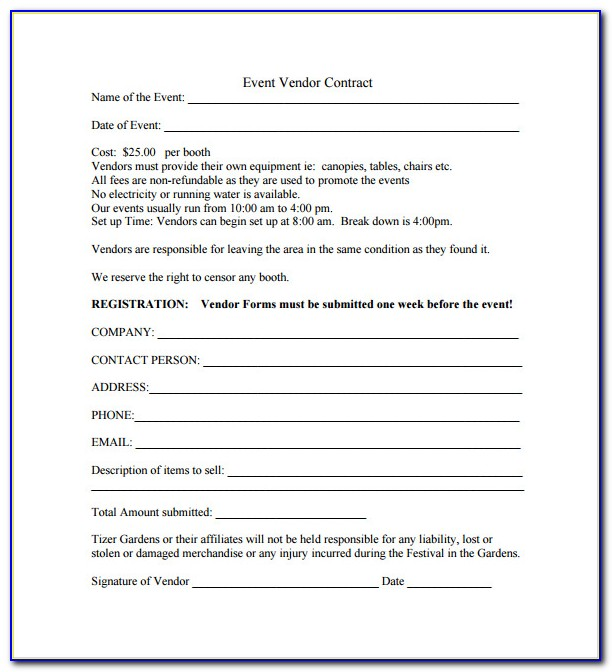 Wedding Planner Contract Form