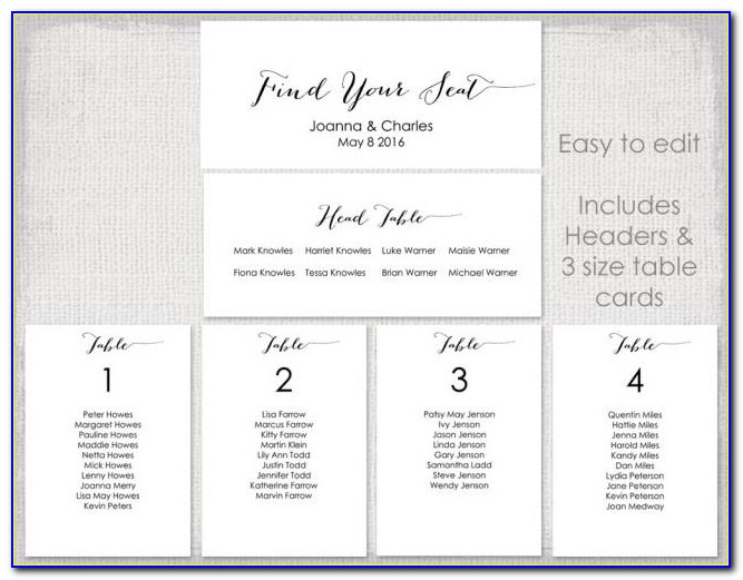 Wedding Table Plan Template Free
