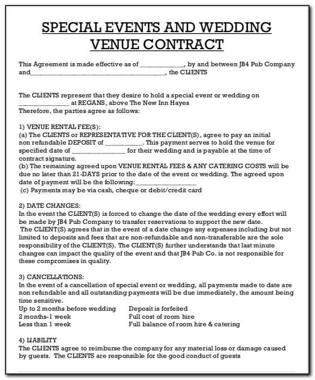 Wedding Venue Contract Example
