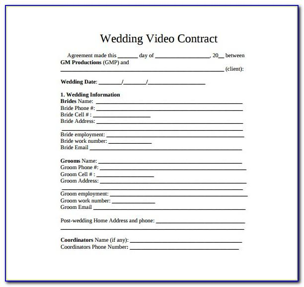 Wedding Videographer Contract Example