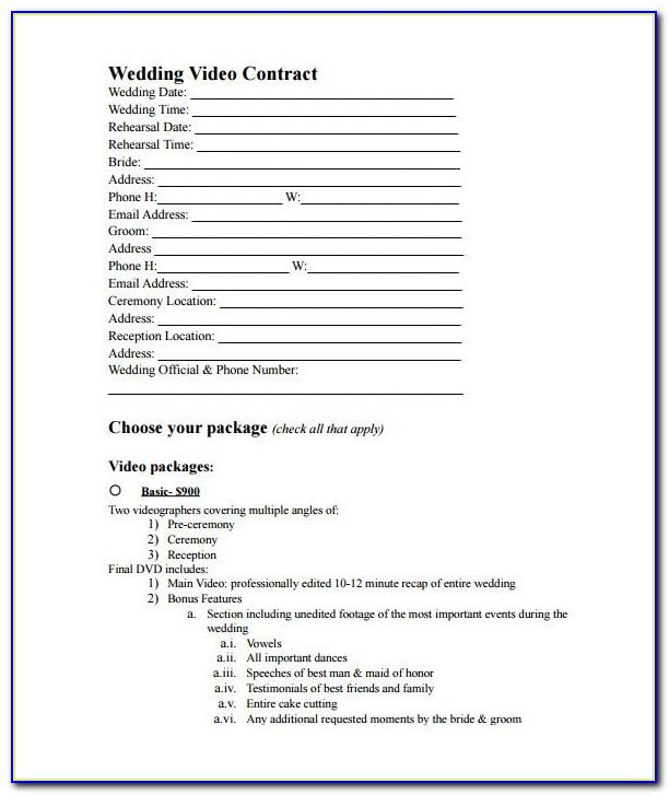 Wedding Videography Contract Example