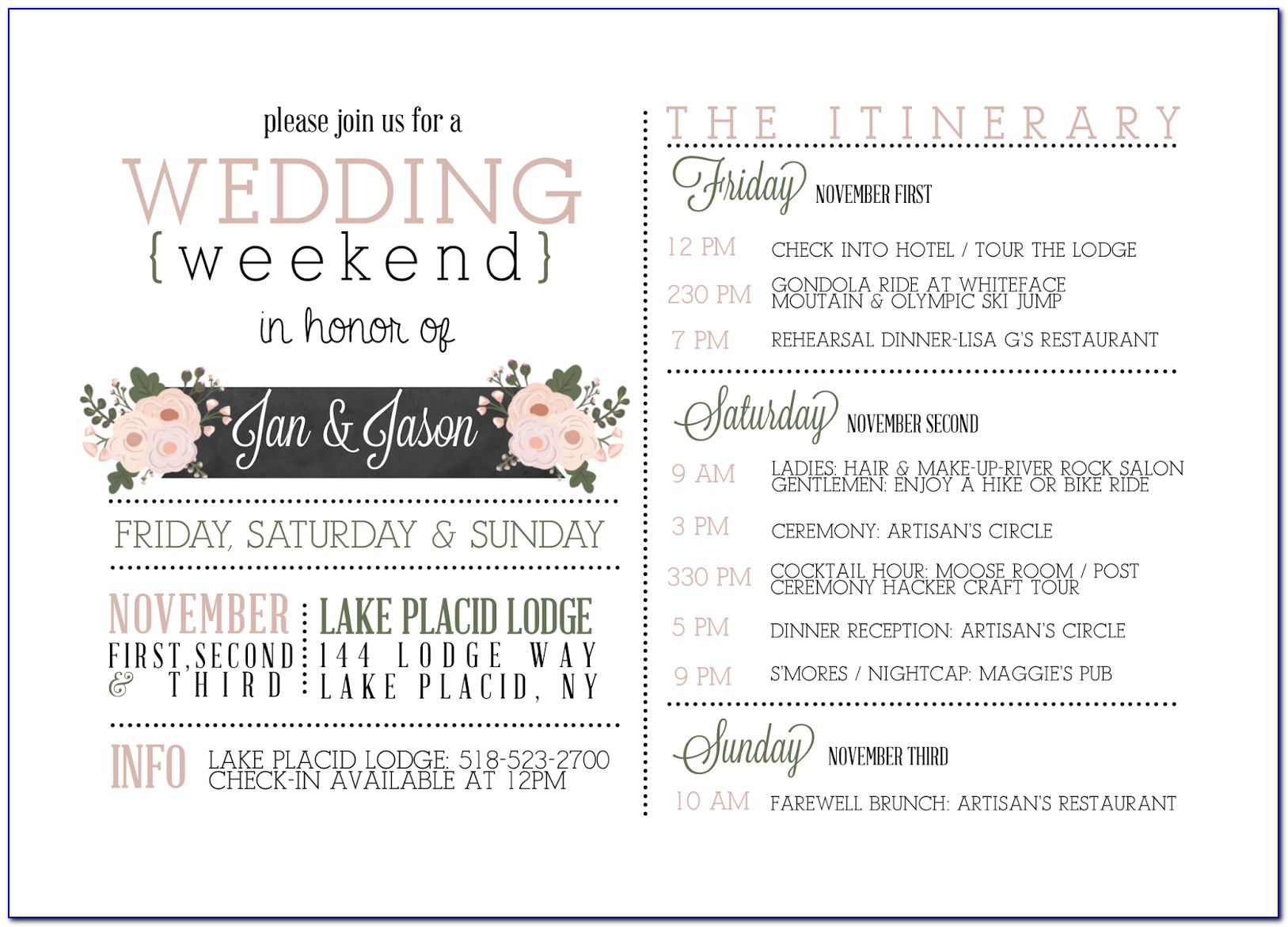 Wedding Week Itinerary Template
