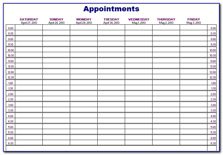 Weekly Appointment Book Printable