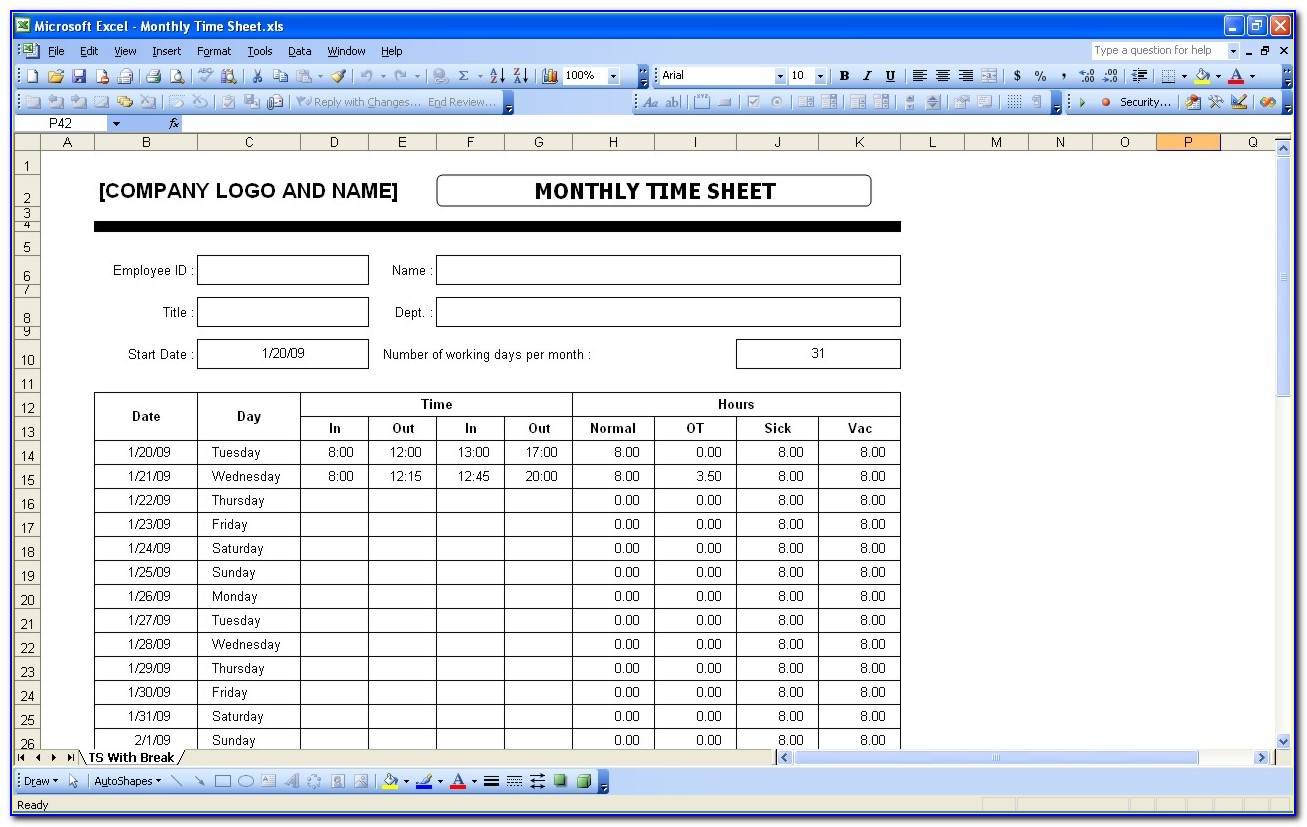 Weekly Timesheet Template Excel Free Download