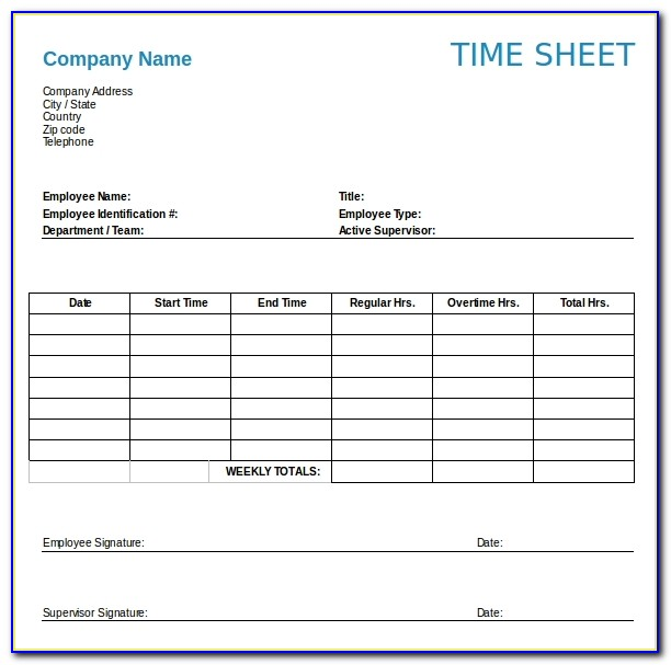 Weekly Timesheet Template Word Free Download