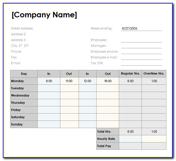 Weekly Timesheets Templates Excel