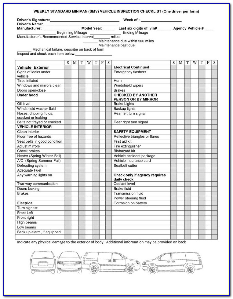Weekly Vehicle Inspection Checklist Form