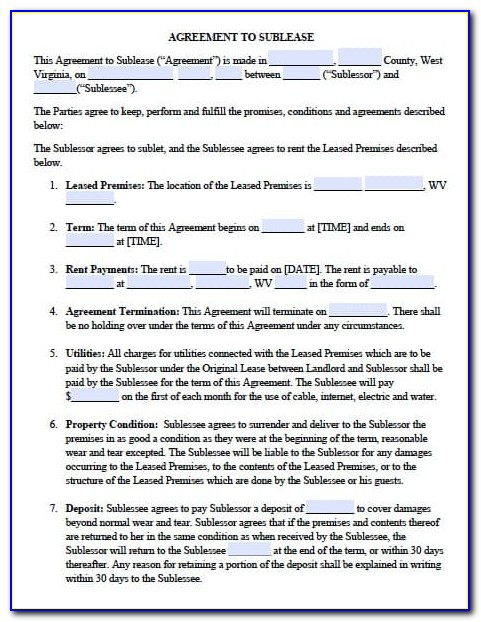 West Virginia Rental Agreement Form