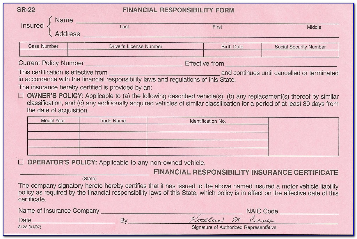 What Is A Sr22 Insurance Form