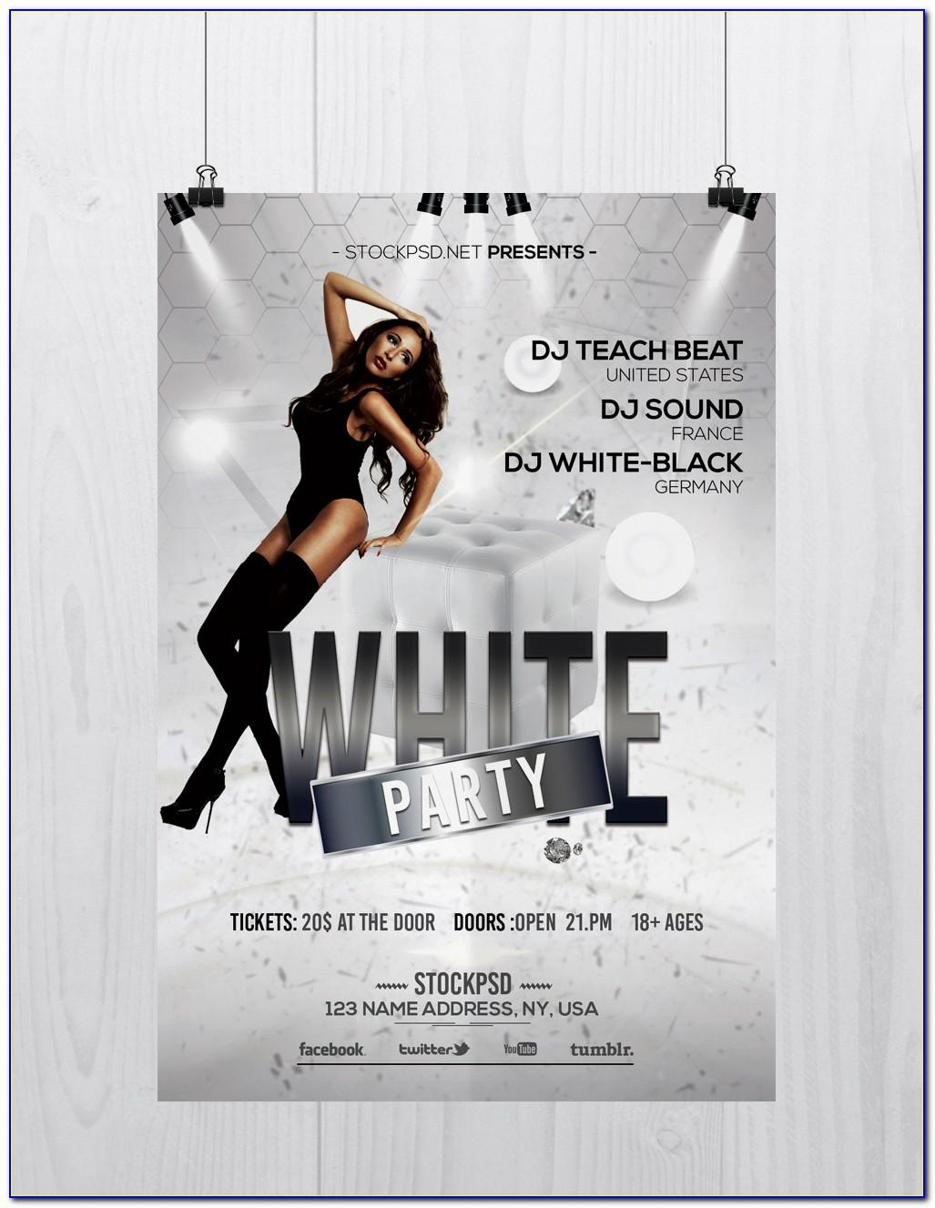White Party Flyer Template Free Download