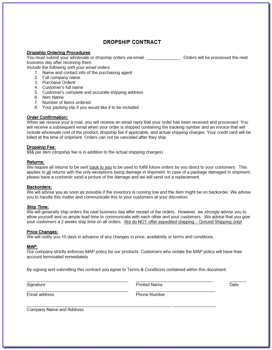 Wholesale Sales Contract Template