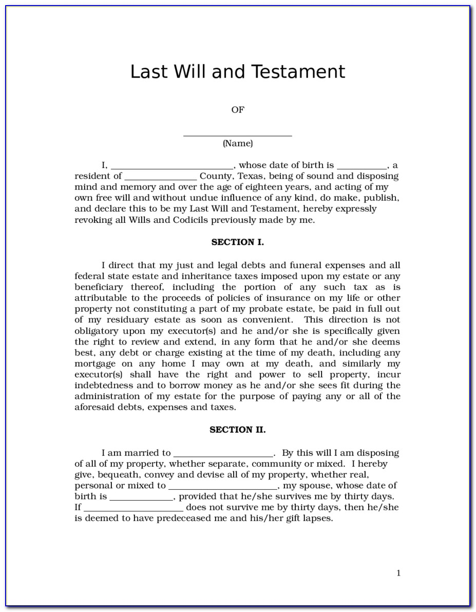 Wills And Last Testament Forms