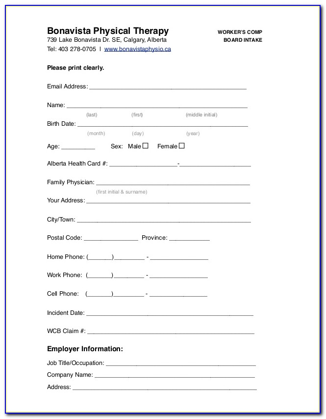 Workers Comp Intake Form