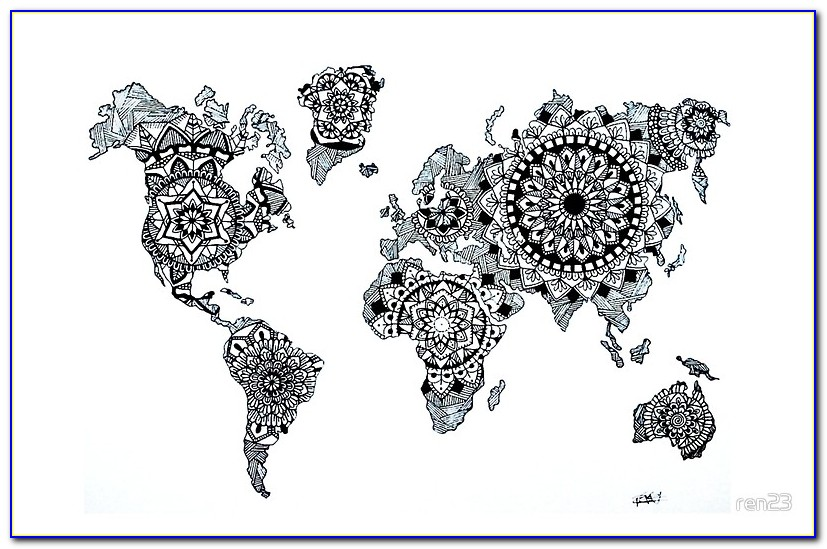 World Map Mandala Speed Drawing