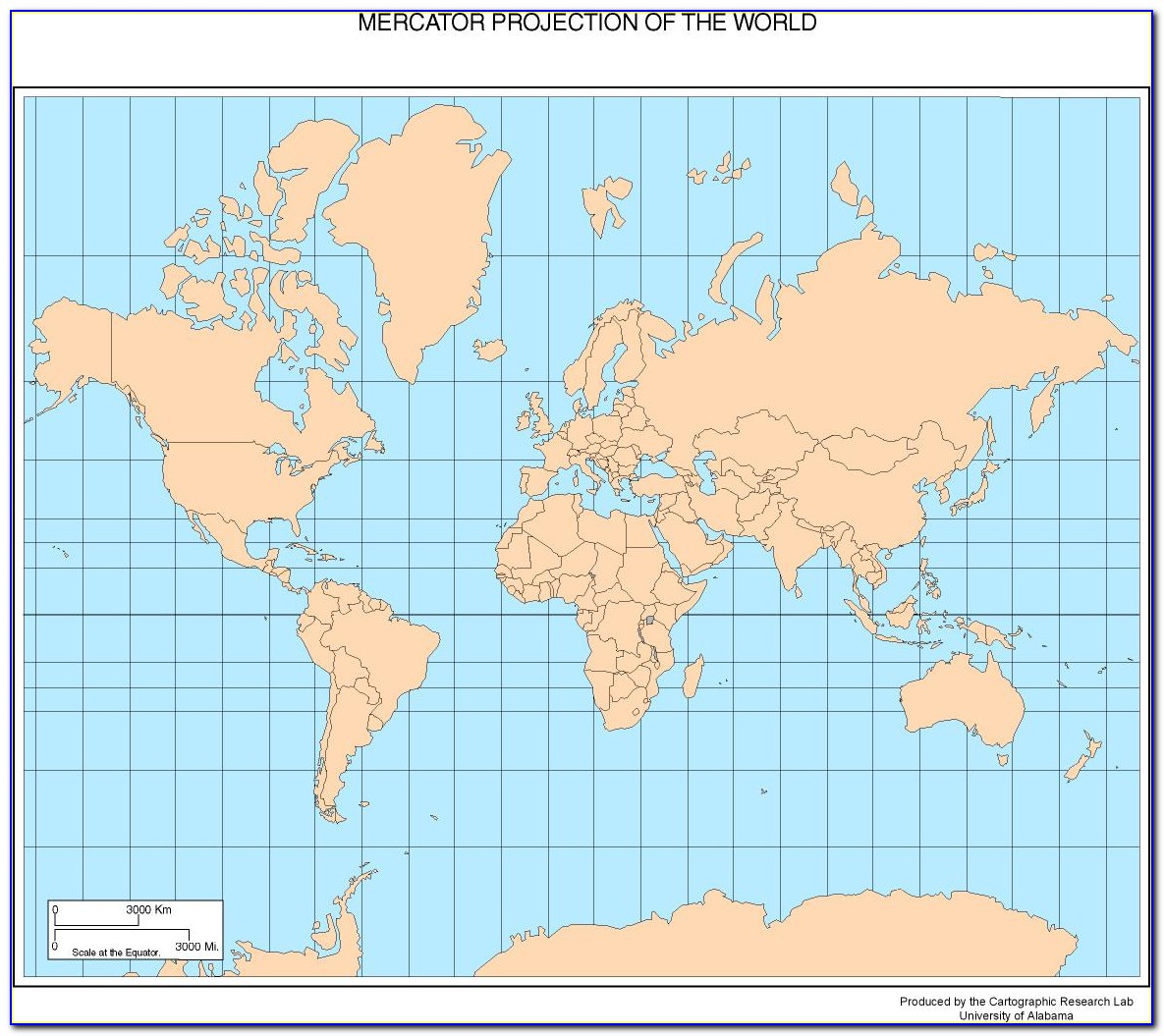 World Map Mercator Projection Vector
