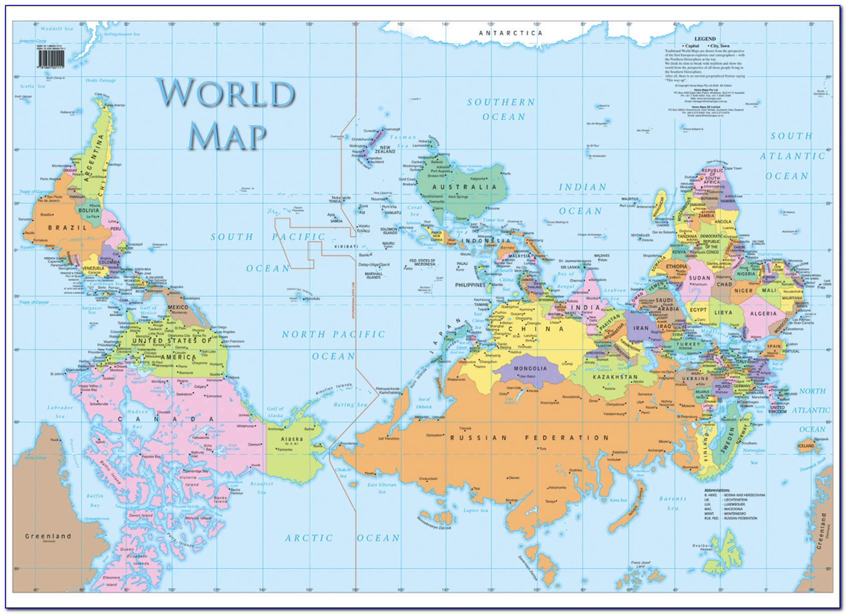 World Map Upside Down Poster