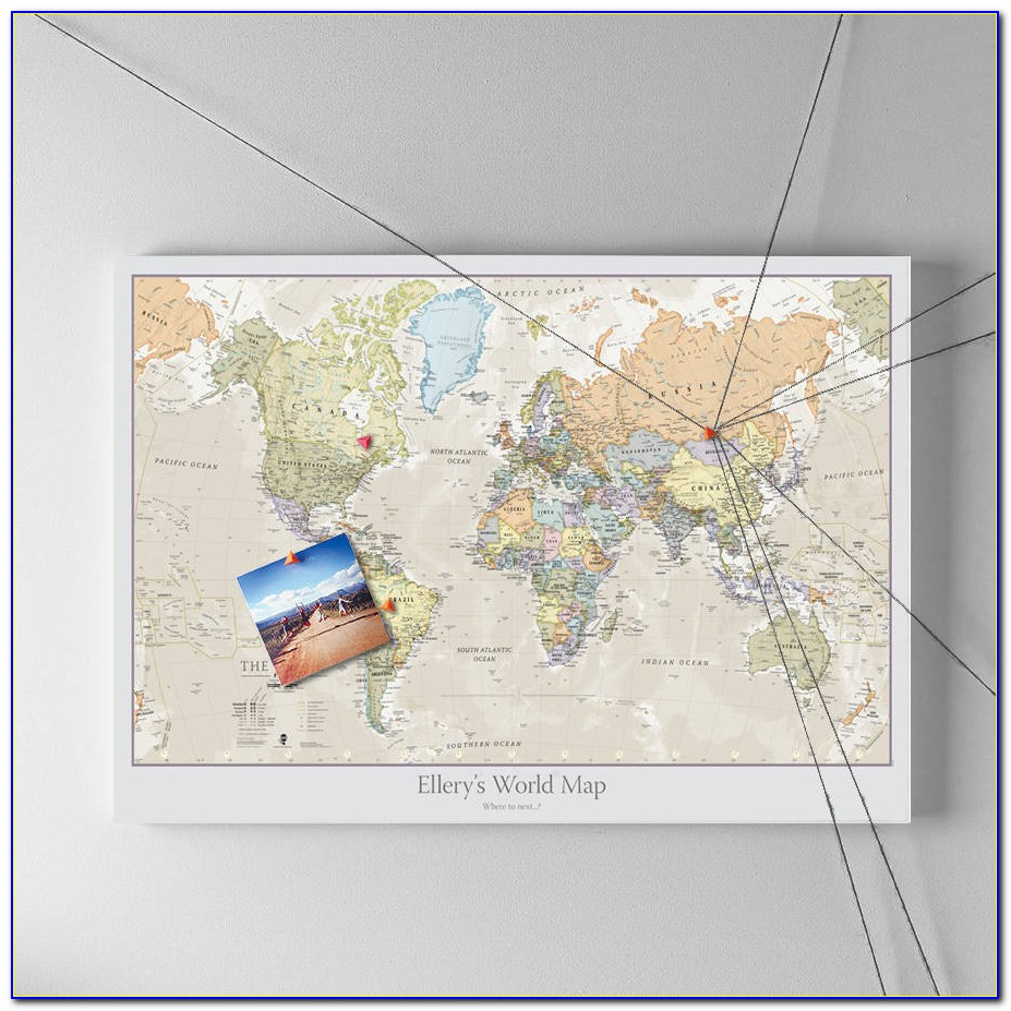 World Travel Map Pinboard Uk