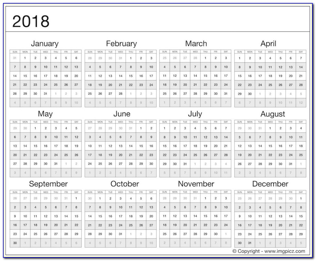 The Stylish 2018 Calendar At A Glance For Really Encourage | Flash 2018 Yearly Calendar Printable Grid