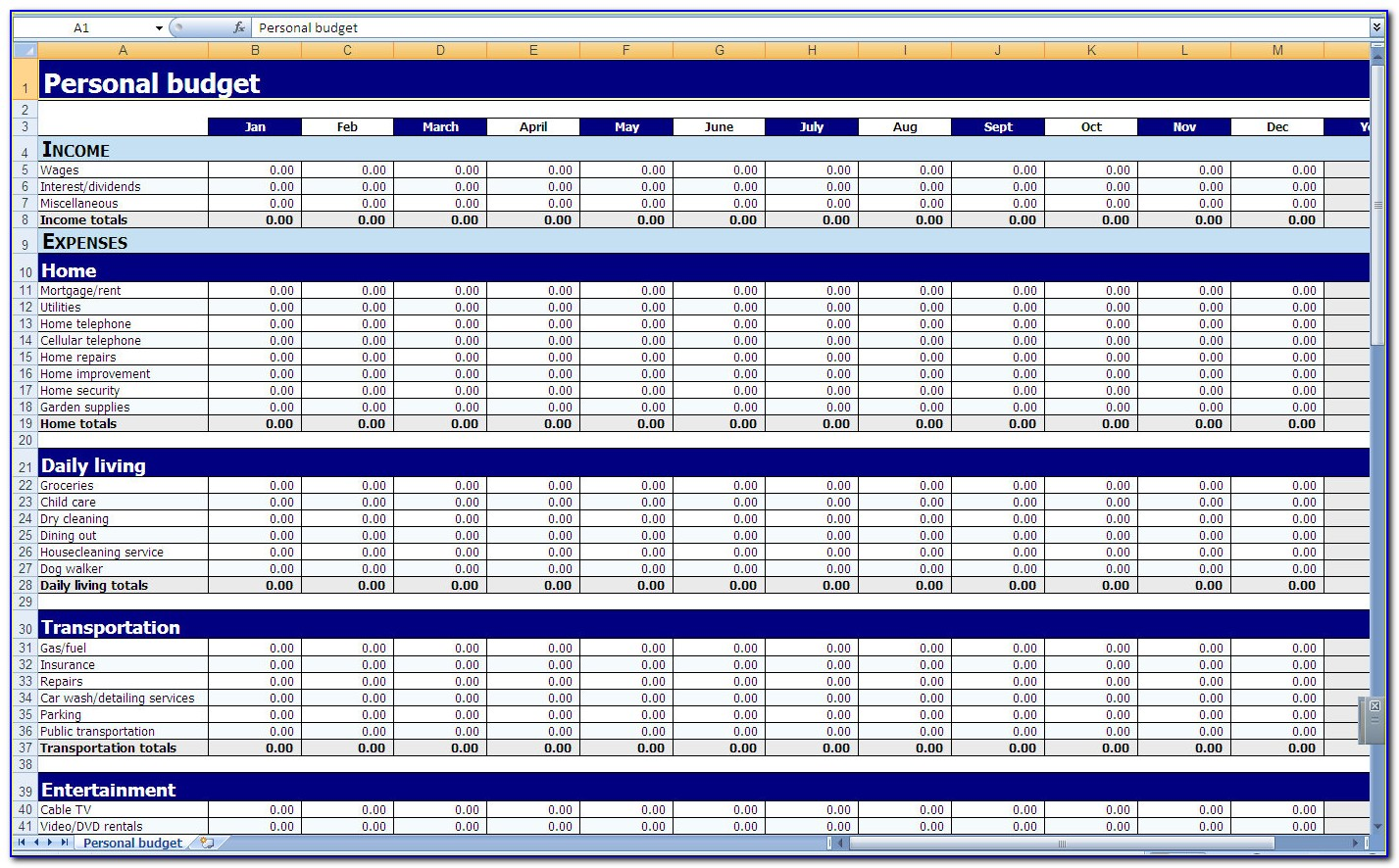 Yearly Household Budget Template Excel