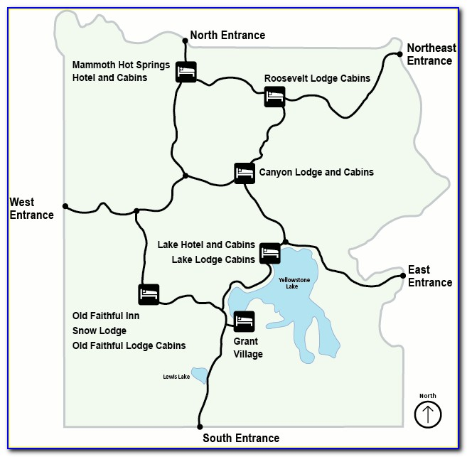 Yellowstone Park Lodging Map