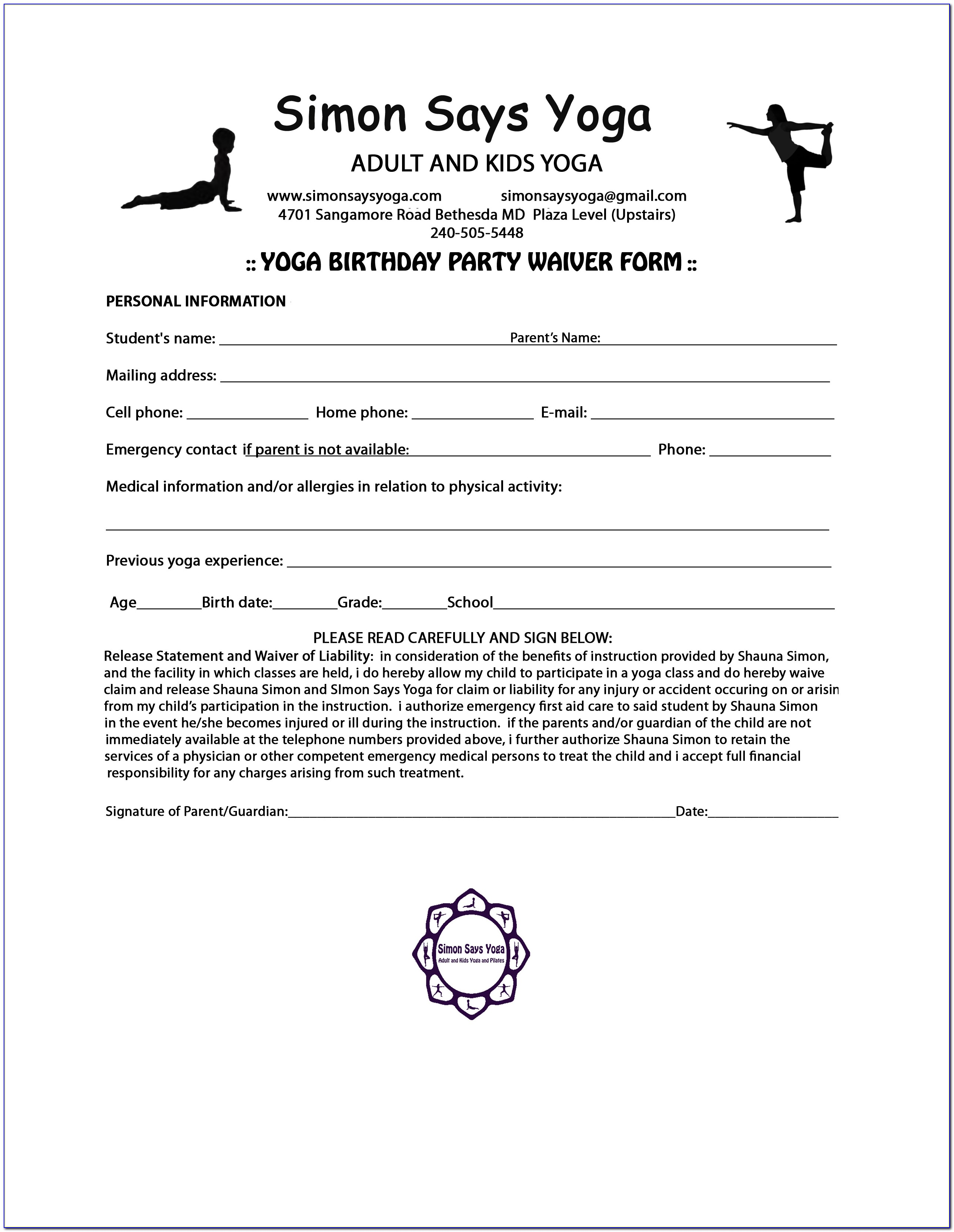 Yoga Waiver Form Template Canada Vincegray2014