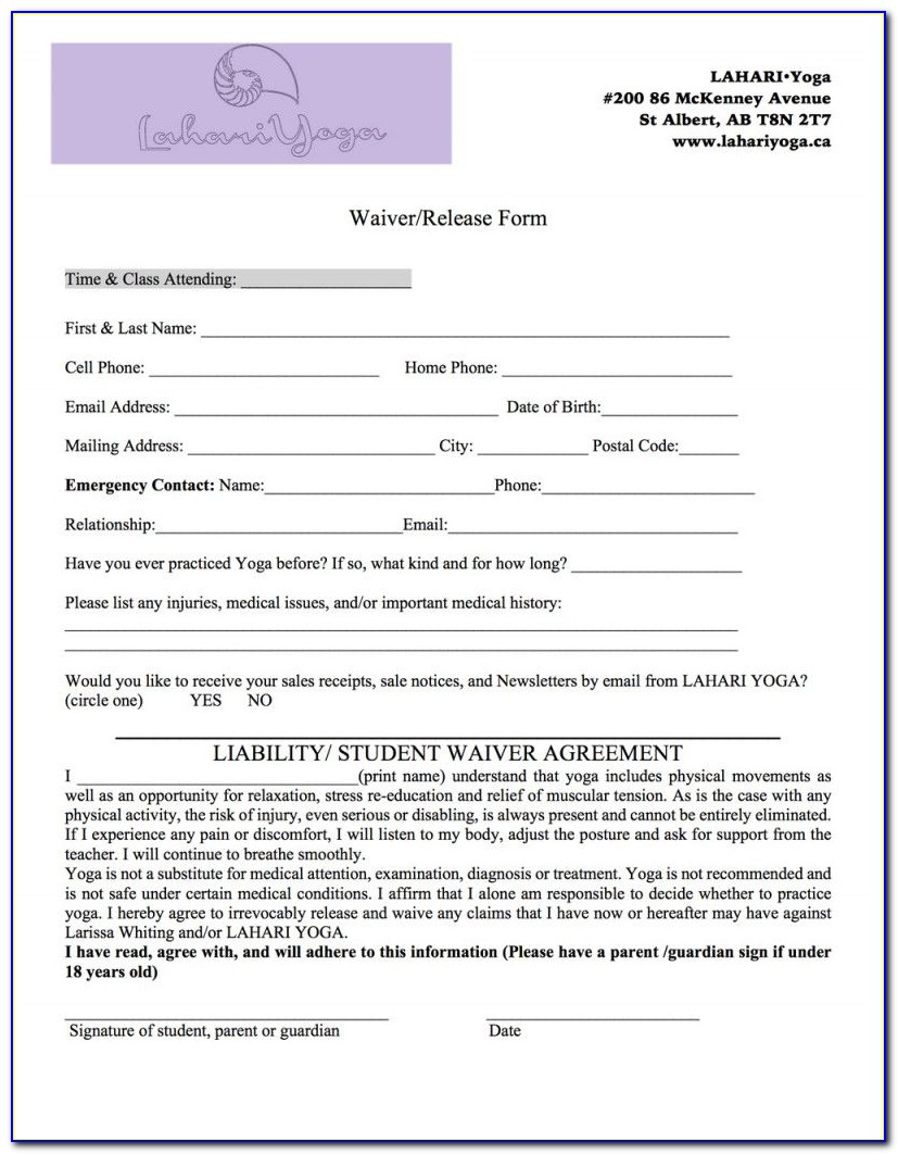 Yoga Waiver Form Yoga Alliance