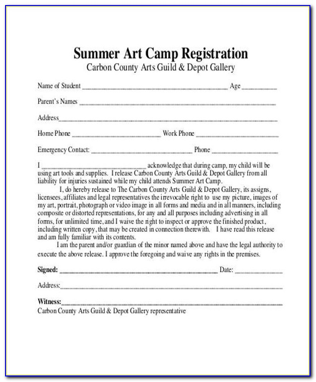 10+ Summer Camp Registration Form Samples Free Sample, Example Within Camp Registration Form Template