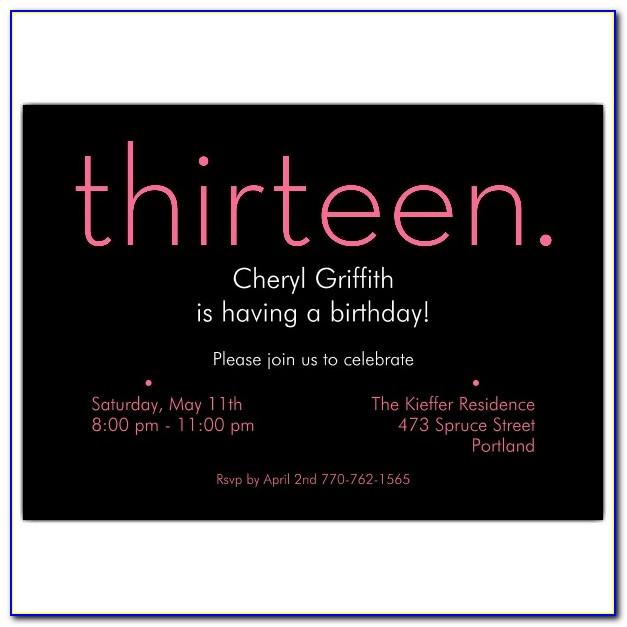 13 Birthday Party Invitation Wording