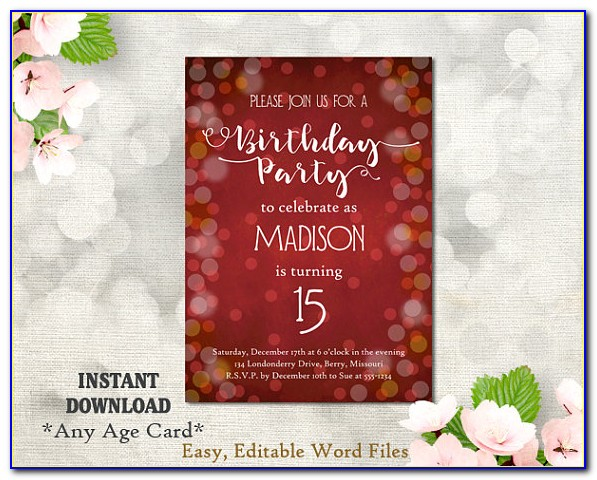 15th Birthday Invitation Card
