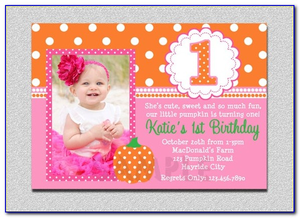 1st Birthday Invitation Card For Baby Girl Template