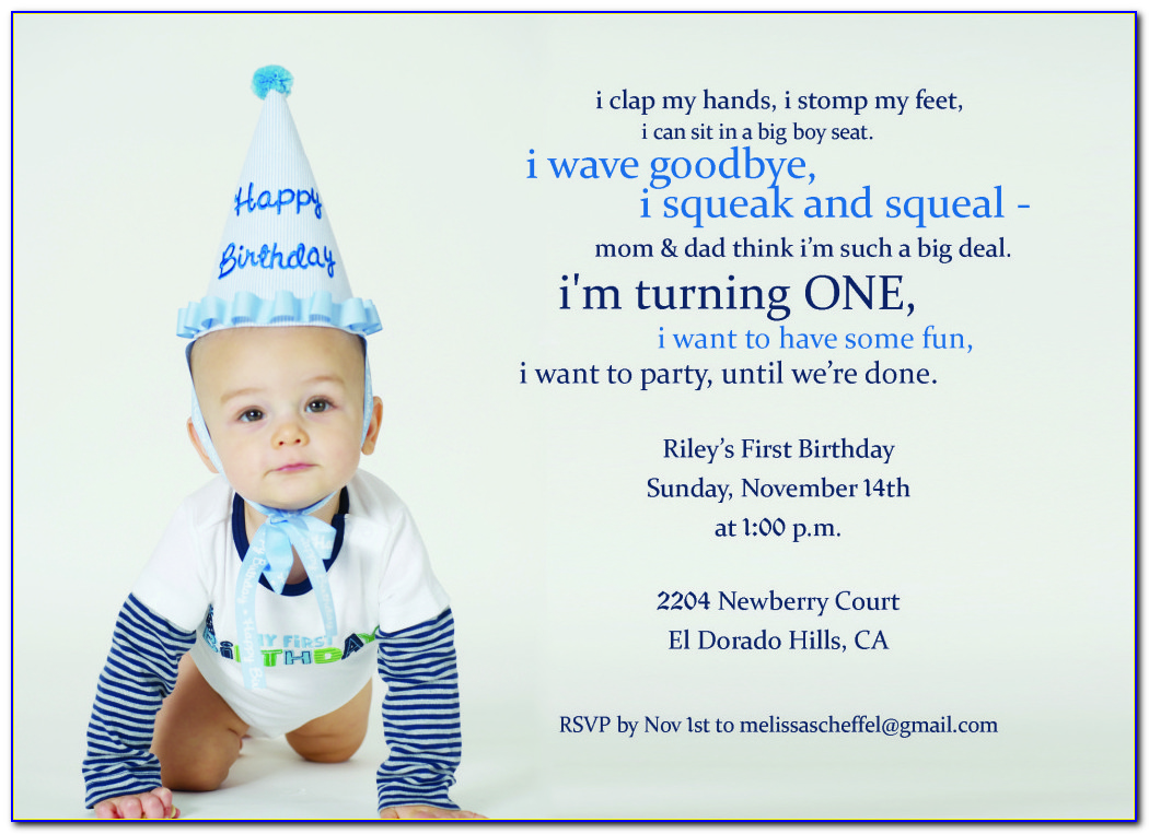 1st Birthday Invitation Cards For Son